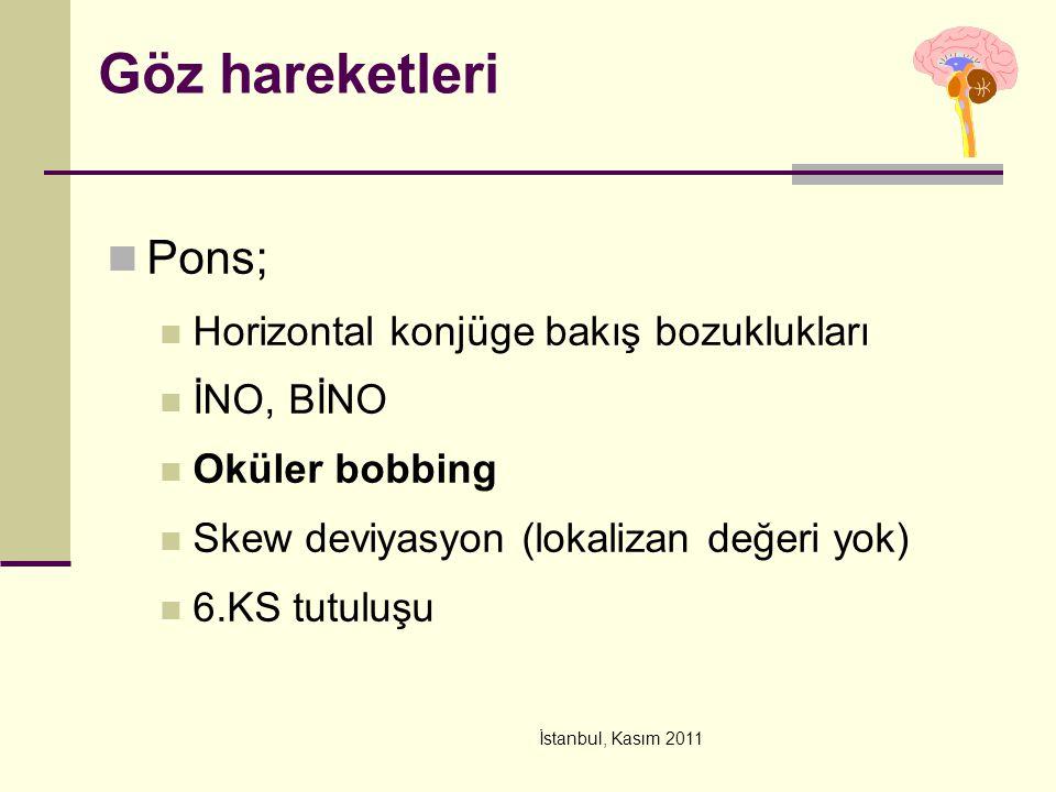 İstanbul, Kasım 2011 Göz hareketleri Pons; Horizontal konjüge bakış bozuklukları İNO, BİNO Oküler bobbing Skew deviyasyon (lokalizan değeri yok) 6.KS