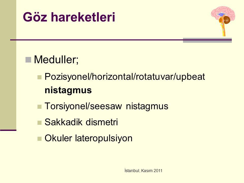 İstanbul, Kasım 2011 Göz hareketleri Meduller; Pozisyonel/horizontal/rotatuvar/upbeat nistagmus Torsiyonel/seesaw nistagmus Sakkadik dismetri Okuler l