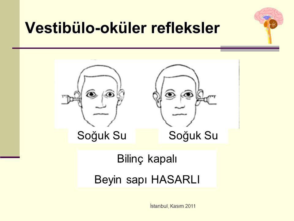 İstanbul, Kasım 2011 Vestibülo-oküler refleksler Bilinç kapalı Beyin sapı HASARLI Soğuk Su