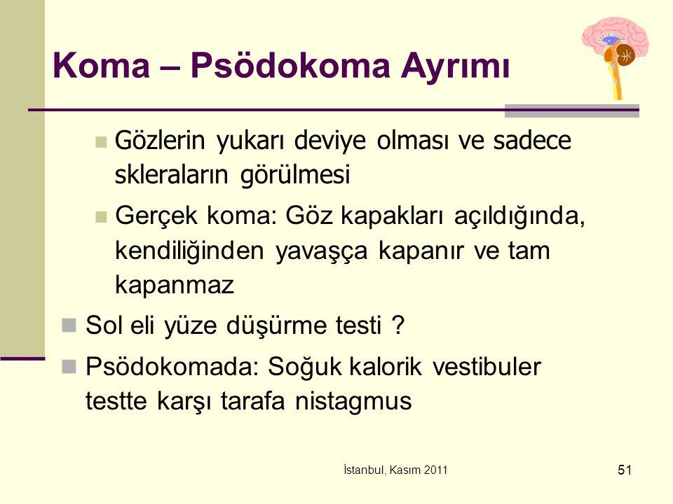 İstanbul, Kasım 2011 51 Koma – Psödokoma Ayrımı Gözlerin yukarı deviye olması ve sadece skleraların görülmesi Gerçek koma: Göz kapakları açıldığında,