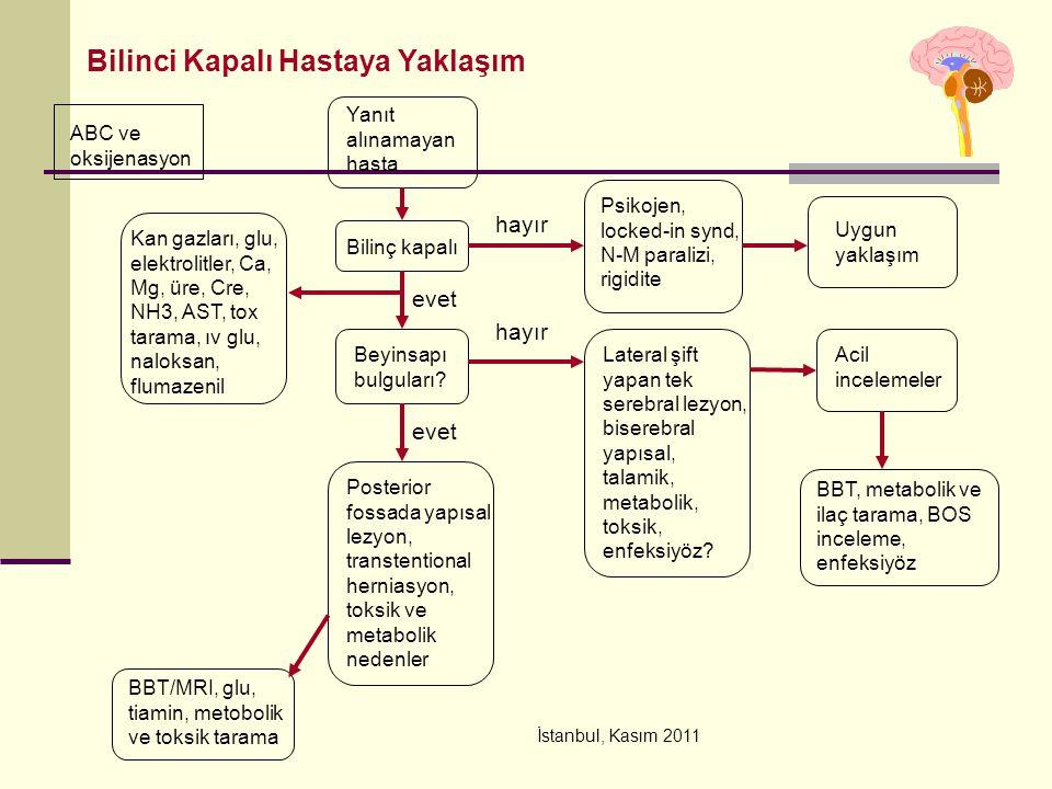 İstanbul, Kasım 2011 ABC ve oksijenasyon Yanıt alınamayan hasta Bilinç kapalı Bilinci Kapalı Hastaya Yaklaşım hayır Psikojen, locked-in synd, N-M para