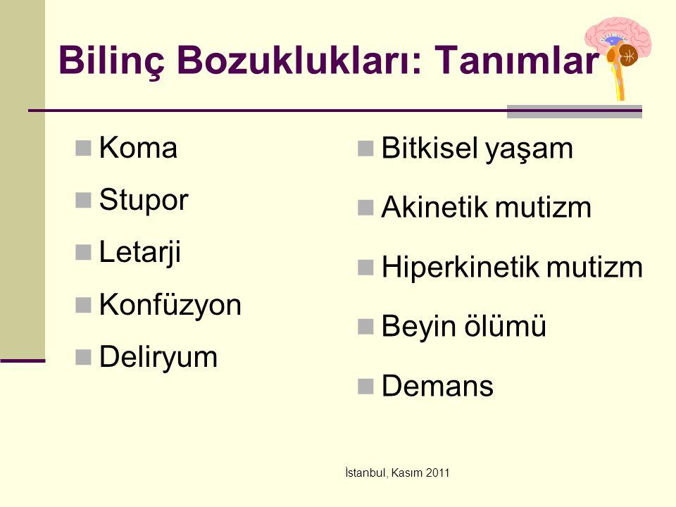İstanbul, Kasım 2011 Tedavi Hızla geri dönen problemlerin tanınması ve tedavisi (hipoksi, hipoglisemi, narkotik doz aşımı ) Oksijen tedavisi (hipoksi/CO zehirlenmesi), İlaçlar Ajitasyonda Geriyatrik hastalarda daha düşük dozlar kullanın Haloperidol: (1-5 mg PO); 0.5-5 mg IV infüzyon Atipik antipsikotikler: ketiapin po Uzun etkili benzodiazepinden kaçının