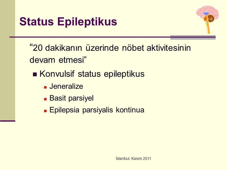 """İstanbul, Kasım 2011 Status Epileptikus """" 20 dakikanın üzerinde nöbet aktivitesinin devam etmesi"""" Konvulsif status epileptikus Jeneralize Basit parsiy"""