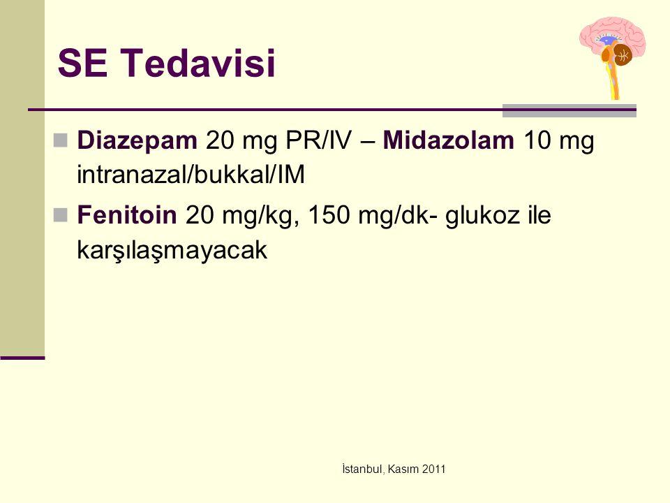 İstanbul, Kasım 2011 SE Tedavisi Diazepam 20 mg PR/IV – Midazolam 10 mg intranazal/bukkal/IM Fenitoin 20 mg/kg, 150 mg/dk- glukoz ile karşılaşmayacak