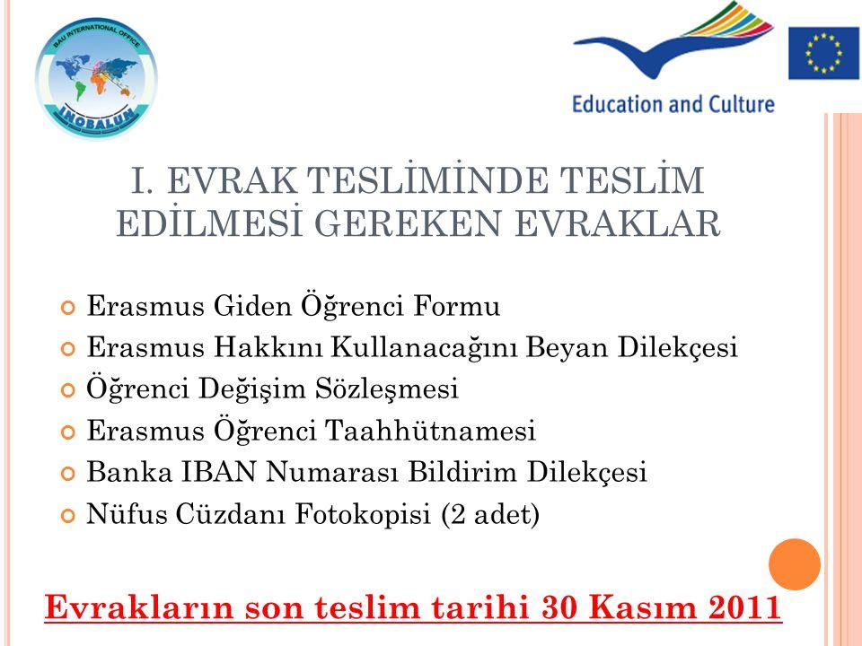Erasmus Giden Öğrenci Formu Erasmus Hakkını Kullanacağını Beyan Dilekçesi Öğrenci Değişim Sözleşmesi Erasmus Öğrenci Taahhütnamesi Banka IBAN Numarası