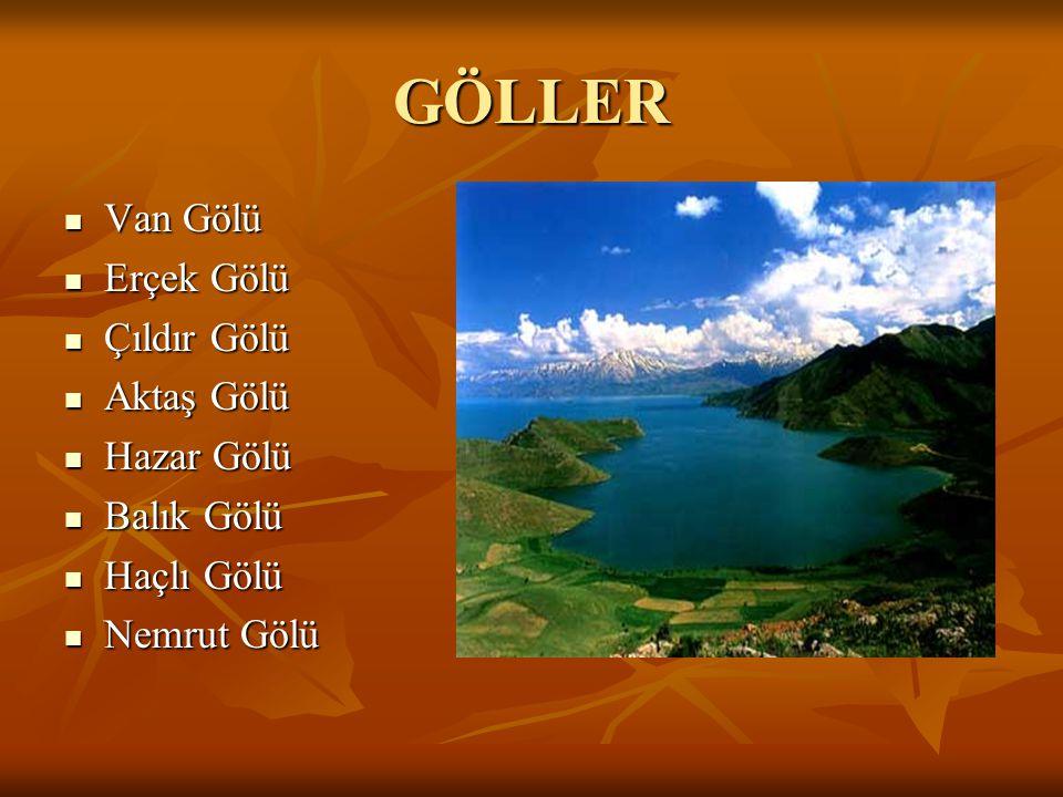 GÖLLER Van Gölü Van Gölü Erçek Gölü Erçek Gölü Çıldır Gölü Çıldır Gölü Aktaş Gölü Aktaş Gölü Hazar Gölü Hazar Gölü Balık Gölü Balık Gölü Haçlı Gölü Ha
