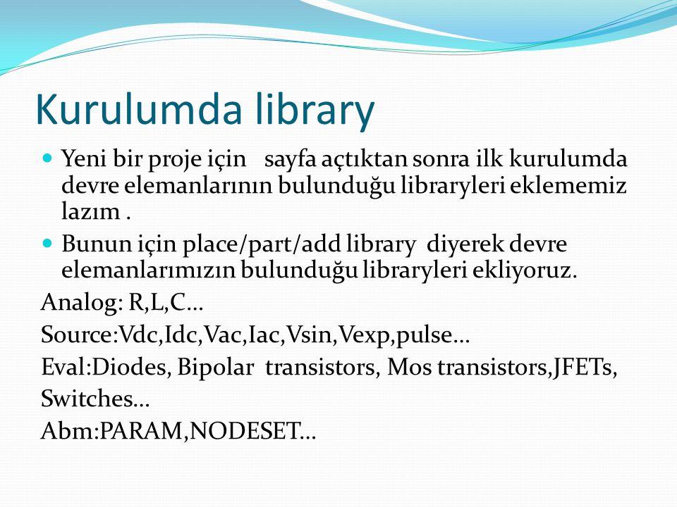 Kurulumda library Yeni bir proje için sayfa açtıktan sonra ilk kurulumda devre elemanlarının bulunduğu libraryleri eklememiz lazım. Bunun için place/p