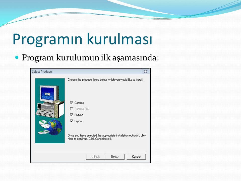 Programın kurulması Program kurulumun ilk aşamasında: