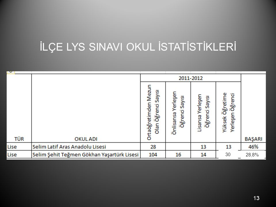 13 İLÇE LYS SINAVI OKUL İSTATİSTİKLERİ 30 28,8%