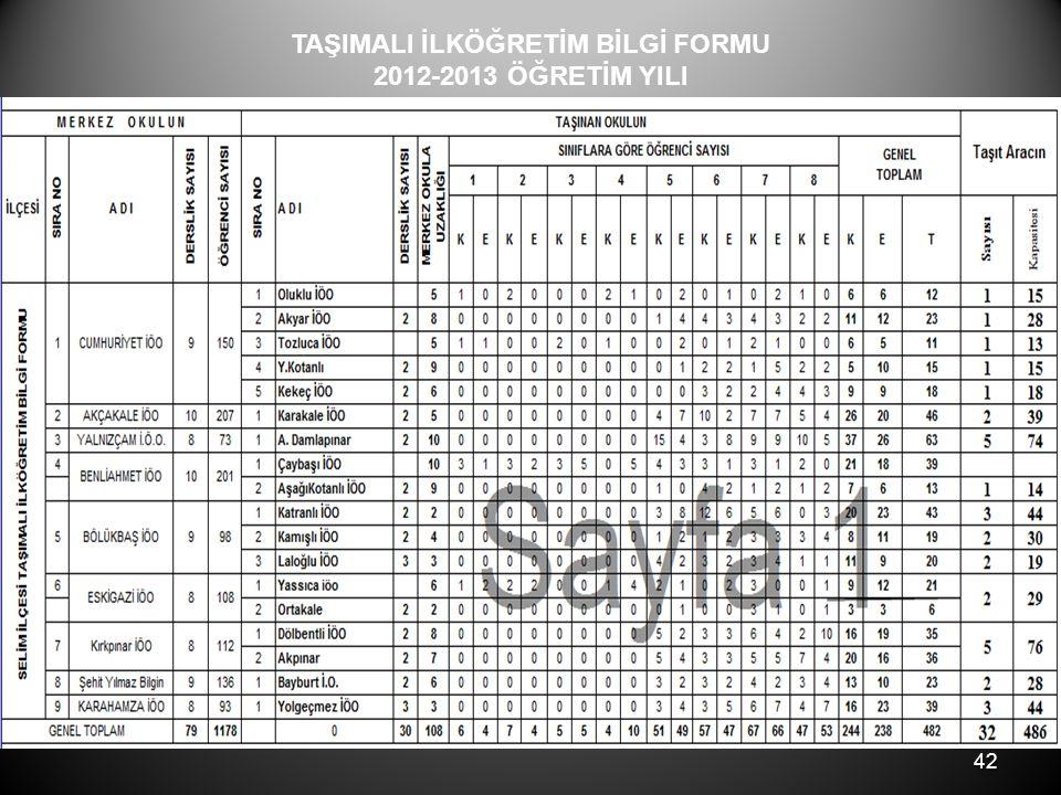 42 TAŞIMALI İLKÖĞRETİM BİLGİ FORMU 2012-2013 ÖĞRETİM YILI