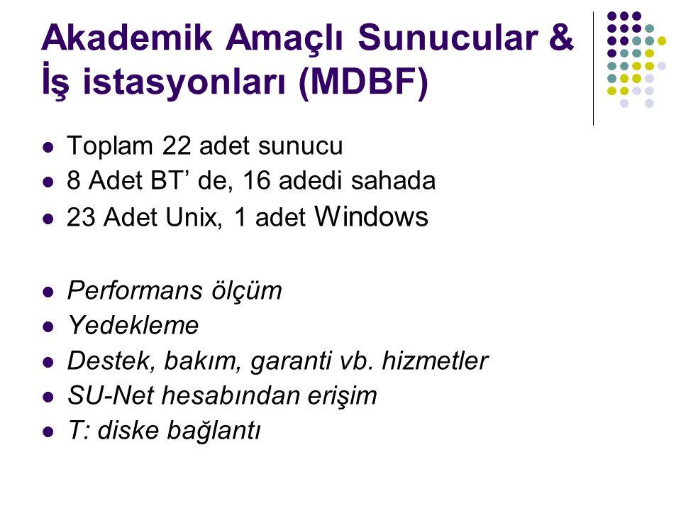 Akademik Amaçlı Sunucular & İş istasyonları (MDBF) Toplam 22 adet sunucu 8 Adet BT' de, 16 adedi sahada 23 Adet Unix, 1 adet Windows Performans ölçüm Yedekleme Destek, bakım, garanti vb.