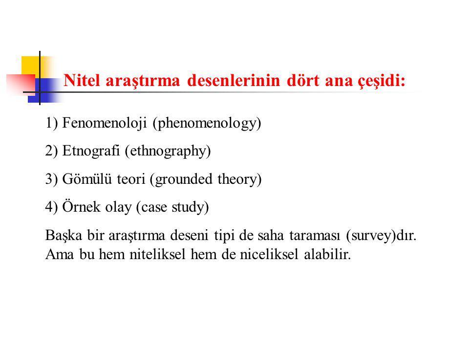 1) Fenomenoloji (phenomenology) 2) Etnografi (ethnography) 3) Gömülü teori (grounded theory) 4) Örnek olay (case study) Başka bir araştırma deseni tipi de saha taraması (survey)dır.