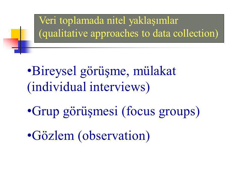 Veri toplamada nitel yaklaşımlar (qualitative approaches to data collection) Bireysel görüşme, mülakat (individual interviews) Grup görüşmesi (focus groups) Gözlem (observation)