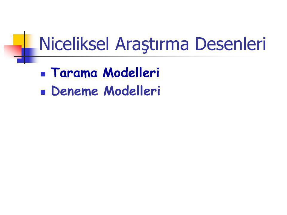 Niceliksel Araştırma Desenleri Tarama Modelleri Deneme Modelleri