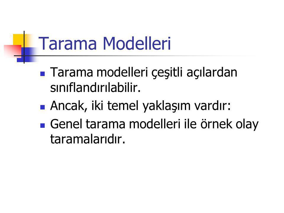 Tarama Modelleri Tarama modelleri çeşitli açılardan sınıflandırılabilir.