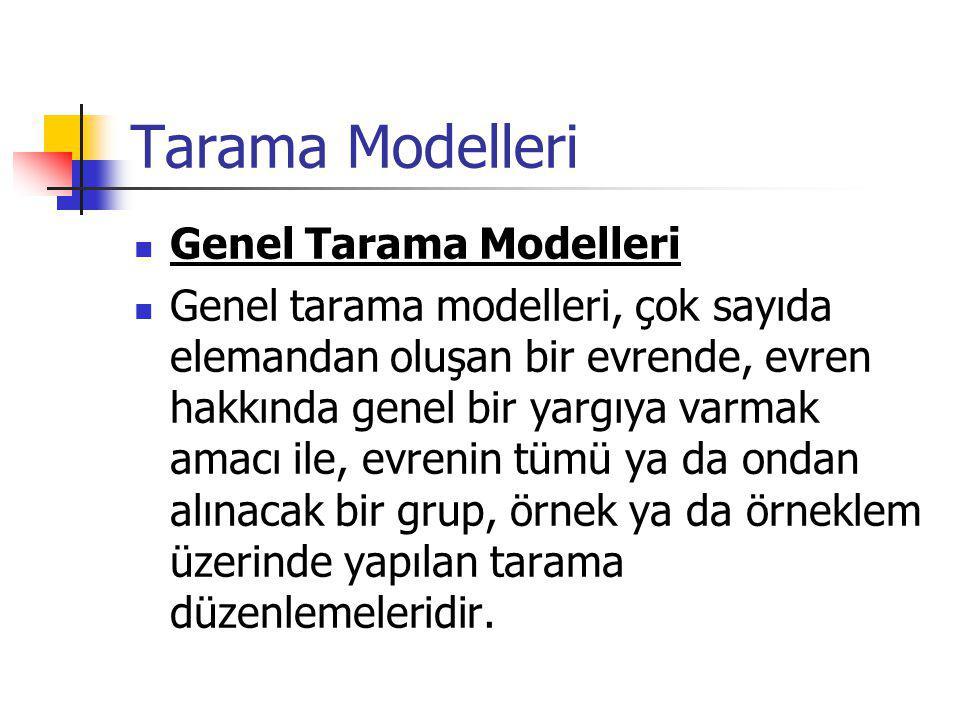 Tarama Modelleri Genel Tarama Modelleri Genel tarama modelleri, çok sayıda elemandan oluşan bir evrende, evren hakkında genel bir yargıya varmak amacı ile, evrenin tümü ya da ondan alınacak bir grup, örnek ya da örneklem üzerinde yapılan tarama düzenlemeleridir.