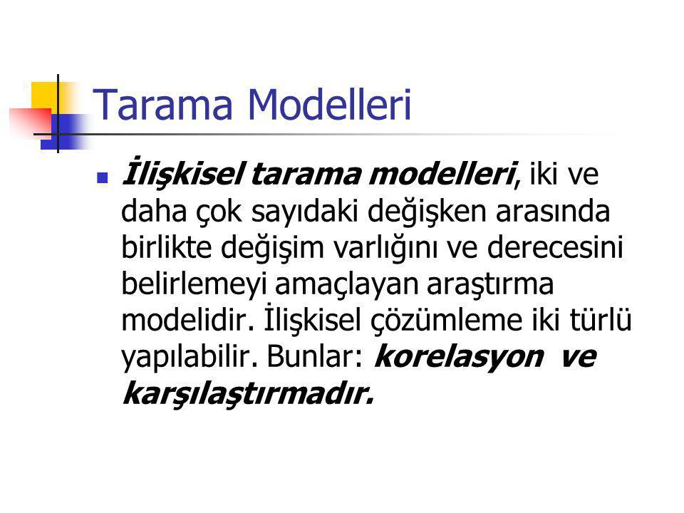 Tarama Modelleri İlişkisel tarama modelleri, iki ve daha çok sayıdaki değişken arasında birlikte değişim varlığını ve derecesini belirlemeyi amaçlayan araştırma modelidir.