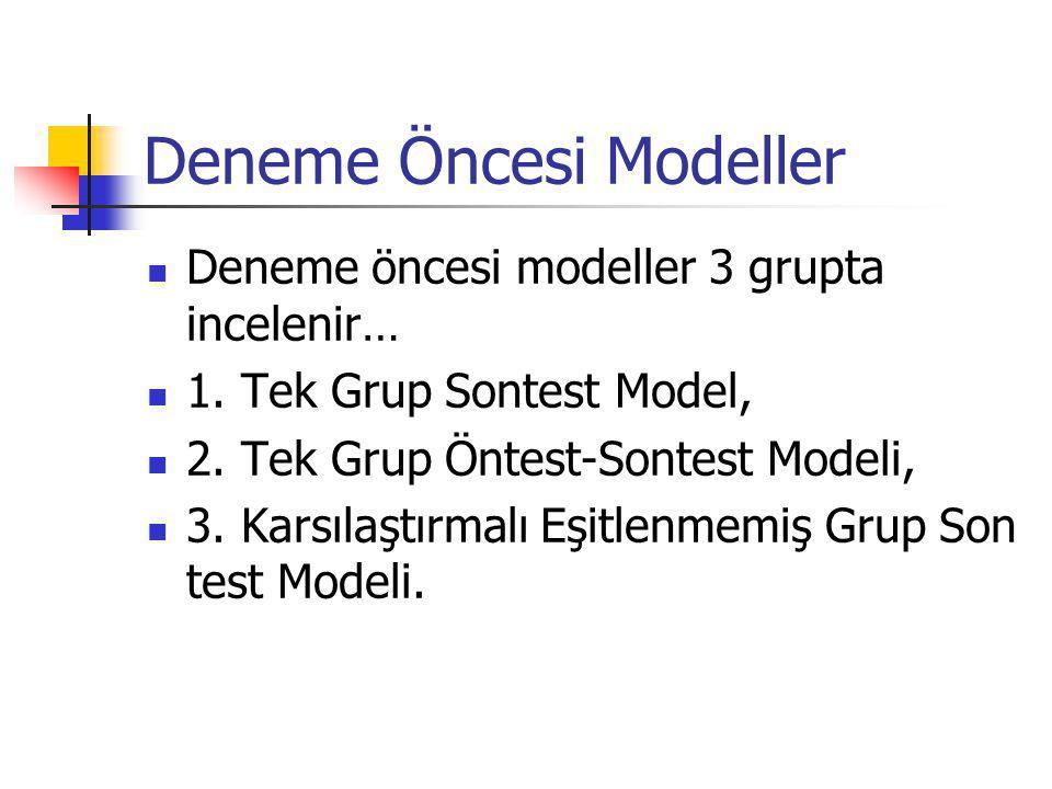 Deneme Öncesi Modeller Deneme öncesi modeller 3 grupta incelenir… 1.