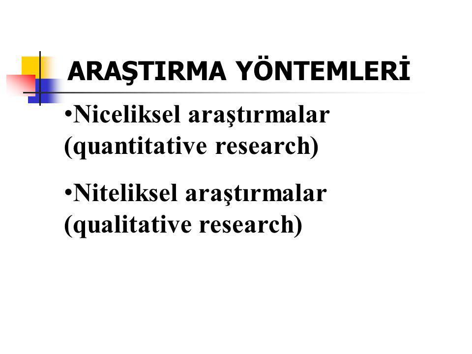 Niceliksel araştırmalar (quantitative research) Niteliksel araştırmalar (qualitative research) ARAŞTIRMA YÖNTEMLERİ