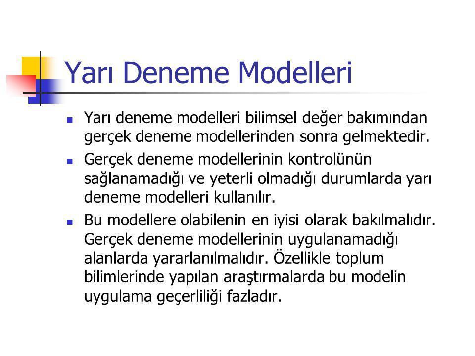 Yarı Deneme Modelleri Yarı deneme modelleri bilimsel değer bakımından gerçek deneme modellerinden sonra gelmektedir.