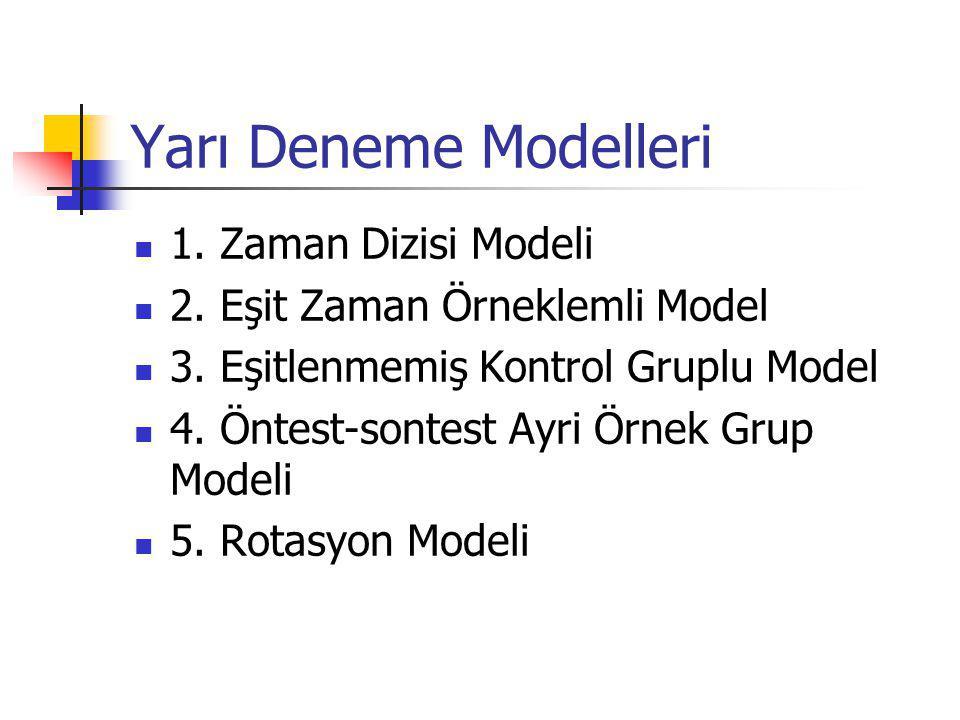Yarı Deneme Modelleri 1.Zaman Dizisi Modeli 2. Eşit Zaman Örneklemli Model 3.