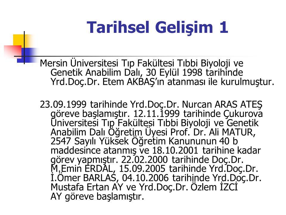 Tarihsel Gelişim 1 Mersin Üniversitesi Tıp Fakültesi Tıbbi Biyoloji ve Genetik Anabilim Dalı, 30 Eylül 1998 tarihinde Yrd.Doç.Dr.