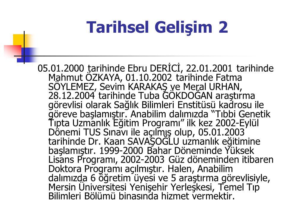 Tarihsel Gelişim 2 05.01.2000 tarihinde Ebru DERİCİ, 22.01.2001 tarihinde Mahmut ÖZKAYA, 01.10.2002 tarihinde Fatma SÖYLEMEZ, Sevim KARAKAŞ ve Meral URHAN, 28.12.2004 tarihinde Tuba GÖKDOĞAN araştırma görevlisi olarak Sağlık Bilimleri Enstitüsü kadrosu ile göreve başlamıştır.