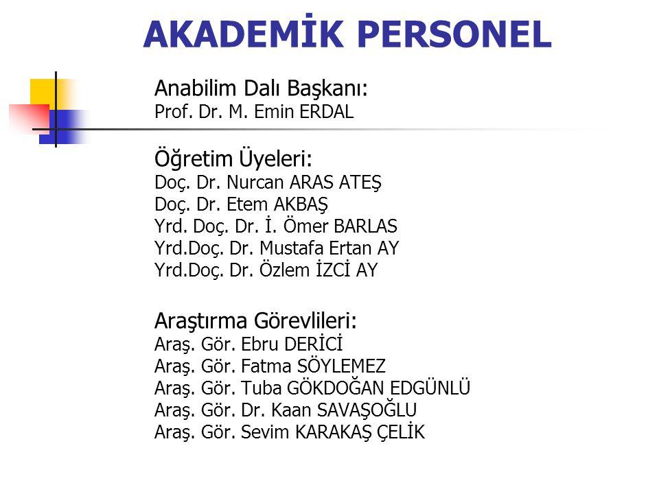 AKADEMİK PERSONEL Anabilim Dalı Başkanı: Prof.Dr.