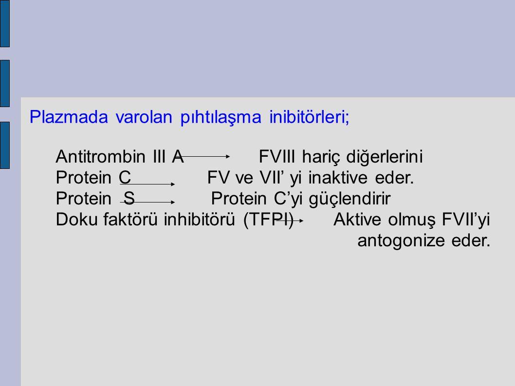 Plazmada varolan pıhtılaşma inibitörleri; Antitrombin III A FVIII hariç diğerlerini Protein C FV ve VII' yi inaktive eder. Protein S Protein C'yi güçl