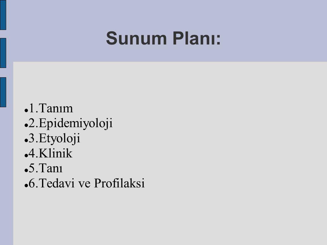 Sunum Planı: 1.Tanım 2.Epidemiyoloji 3.Etyoloji 4.Klinik 5.Tanı 6.Tedavi ve Profilaksi
