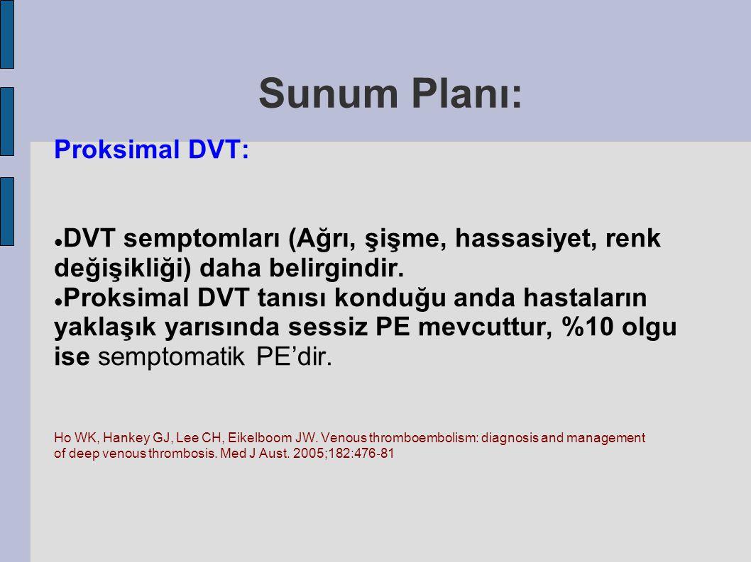 Proksimal DVT: DVT semptomları (Ağrı, şişme, hassasiyet, renk değişikliği) daha belirgindir. Proksimal DVT tanısı konduğu anda hastaların yaklaşık yar