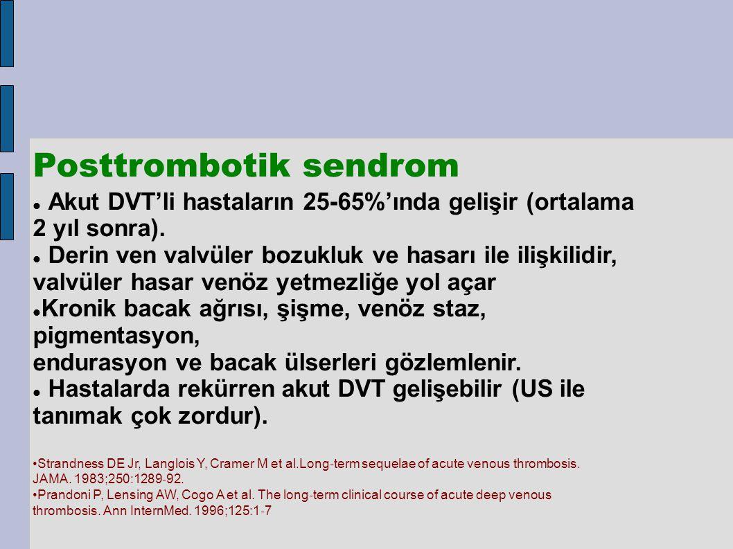 Posttrombotik sendrom Akut DVT'li hastaların 25-65%'ında gelişir (ortalama 2 yıl sonra). Derin ven valvüler bozukluk ve hasarı ile ilişkilidir, valvül