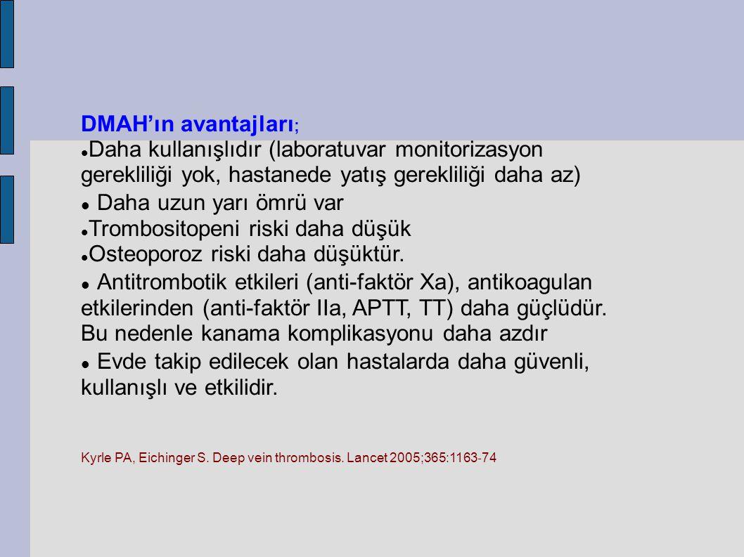 DMAH'ın avantajları ; Daha kullanışlıdır (laboratuvar monitorizasyon gerekliliği yok, hastanede yatış gerekliliği daha az) Daha uzun yarı ömrü var Tr