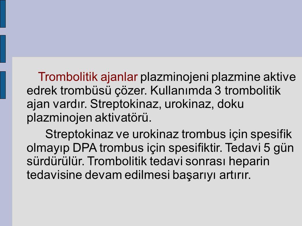 Trombolitik ajanlar plazminojeni plazmine aktive edrek trombüsü çözer. Kullanımda 3 trombolitik ajan vardır. Streptokinaz, urokinaz, doku plazminojen