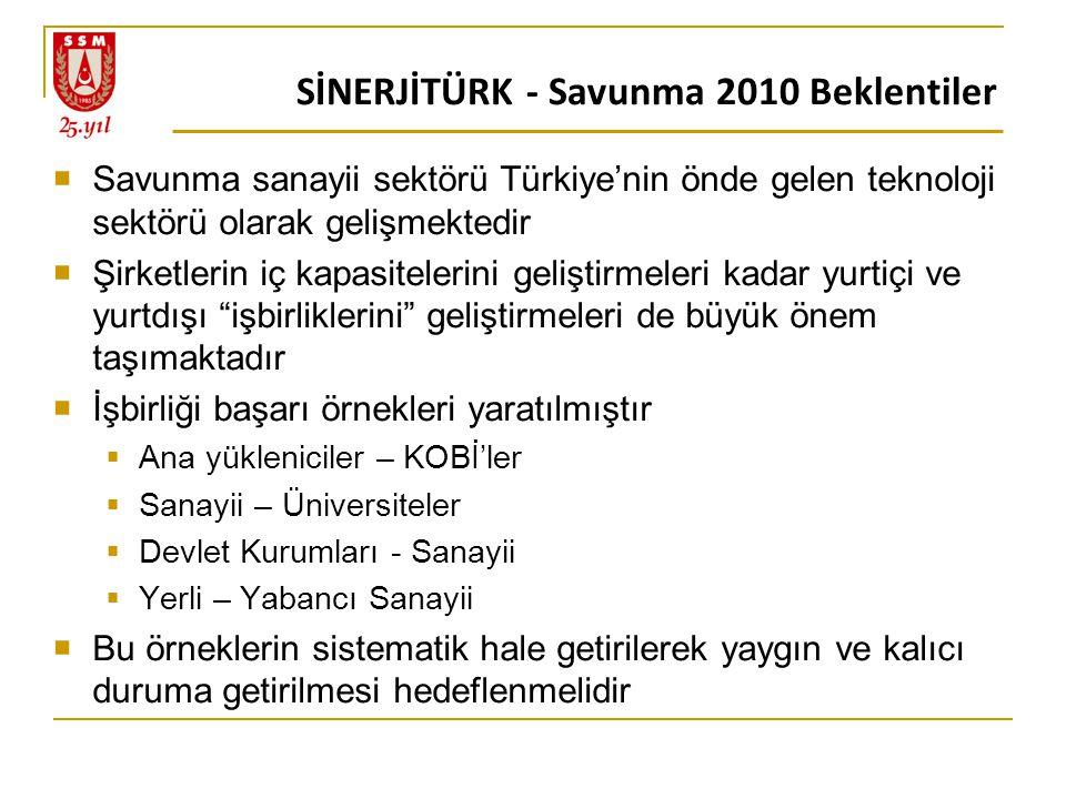 SİNERJİTÜRK - Savunma 2010 Beklentiler  Savunma sanayii sektörü Türkiye'nin önde gelen teknoloji sektörü olarak gelişmektedir  Şirketlerin iç kapasitelerini geliştirmeleri kadar yurtiçi ve yurtdışı işbirliklerini geliştirmeleri de büyük önem taşımaktadır  İşbirliği başarı örnekleri yaratılmıştır  Ana yükleniciler – KOBİ'ler  Sanayii – Üniversiteler  Devlet Kurumları - Sanayii  Yerli – Yabancı Sanayii  Bu örneklerin sistematik hale getirilerek yaygın ve kalıcı duruma getirilmesi hedeflenmelidir