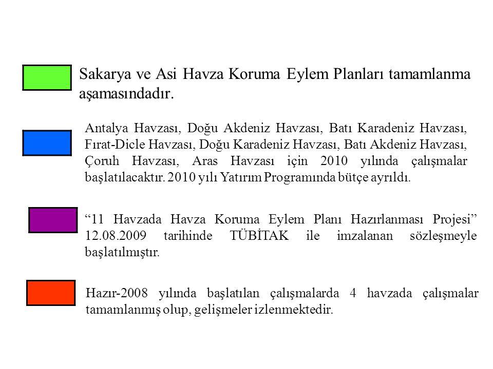 Sakarya ve Asi Havza Koruma Eylem Planları tamamlanma aşamasındadır. Antalya Havzası, Doğu Akdeniz Havzası, Batı Karadeniz Havzası, Fırat-Dicle Havzas
