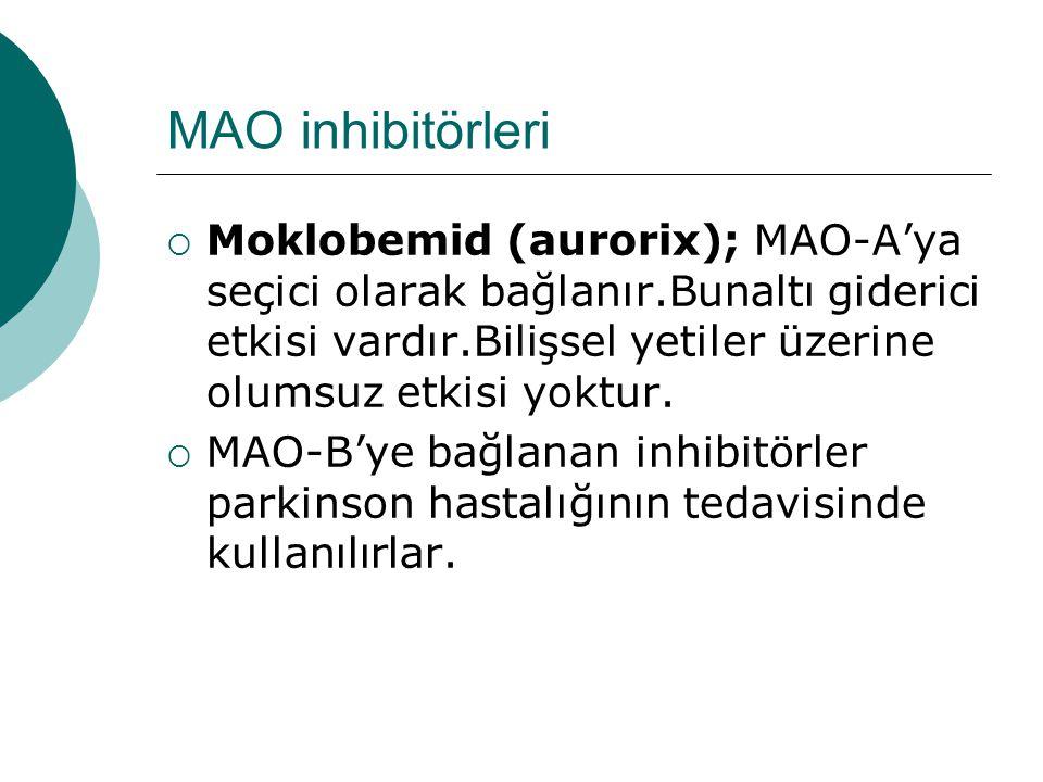 MAO inhibitörleri  Moklobemid (aurorix); MAO-A'ya seçici olarak bağlanır.Bunaltı giderici etkisi vardır.Bilişsel yetiler üzerine olumsuz etkisi yoktur.
