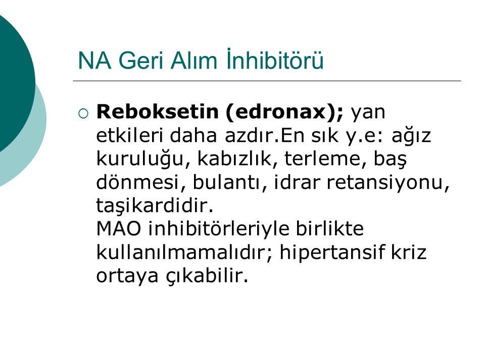 NA Geri Alım İnhibitörü  Reboksetin (edronax); yan etkileri daha azdır.En sık y.e: ağız kuruluğu, kabızlık, terleme, baş dönmesi, bulantı, idrar retansiyonu, taşikardidir.