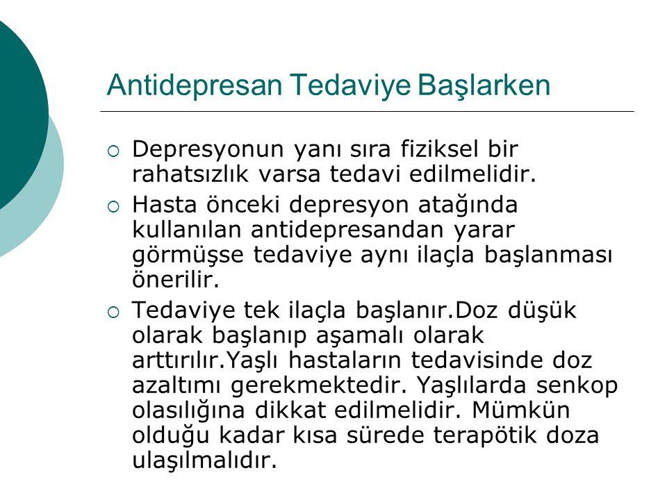 Antidepresan Tedaviye Başlarken  Depresyonun yanı sıra fiziksel bir rahatsızlık varsa tedavi edilmelidir.