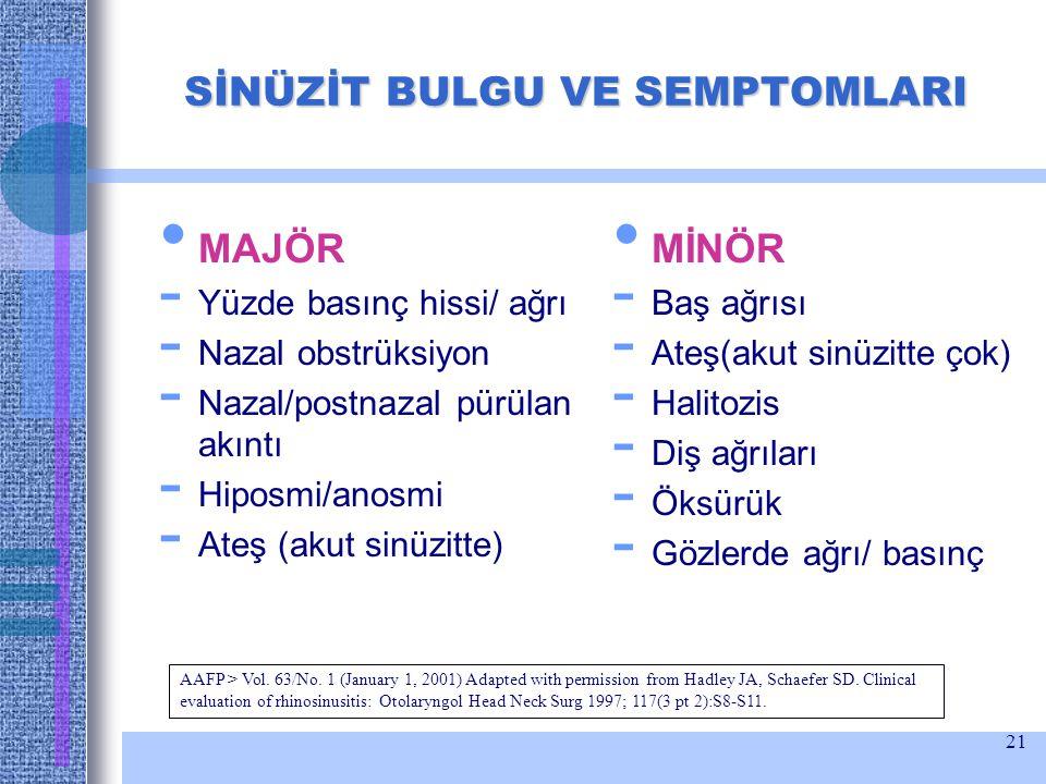 21 SİNÜZİT BULGU VE SEMPTOMLARI MAJÖR - Yüzde basınç hissi/ ağrı - Nazal obstrüksiyon - Nazal/postnazal pürülan akıntı - Hiposmi/anosmi - Ateş (akut s