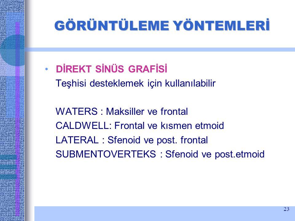 23 GÖRÜNTÜLEME YÖNTEMLERİ DİREKT SİNÜS GRAFİSİ Teşhisi desteklemek için kullanılabilir WATERS : Maksiller ve frontal CALDWELL: Frontal ve kısmen etmoi