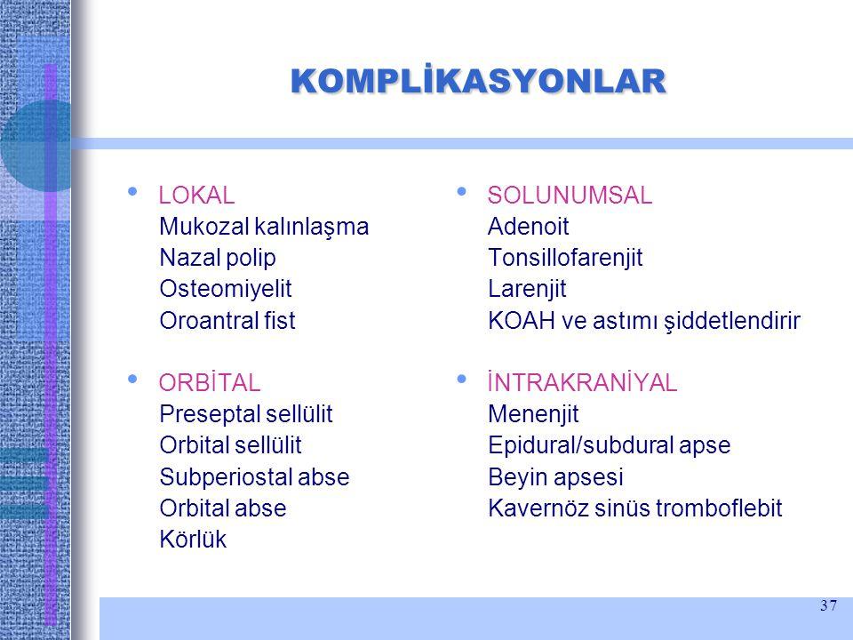 37 KOMPLİKASYONLAR KOMPLİKASYONLAR LOKAL Mukozal kalınlaşma Nazal polip Osteomiyelit Oroantral fist ORBİTAL Preseptal sellülit Orbital sellülit Subper