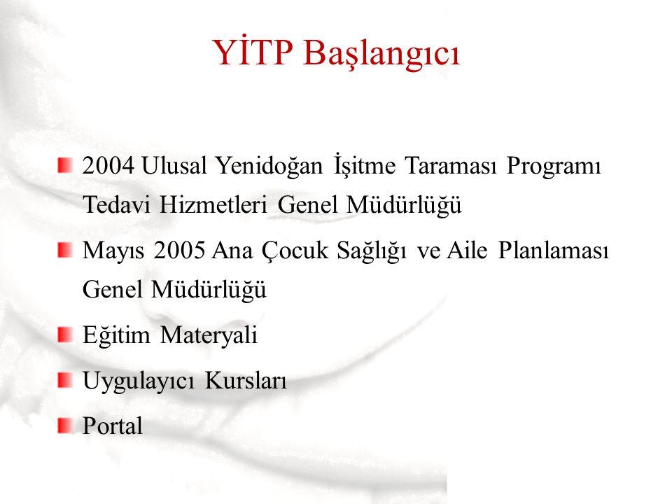 YİTP Başlangıcı 2004 Ulusal Yenidoğan İşitme Taraması Programı Tedavi Hizmetleri Genel Müdürlüğü Mayıs 2005 Ana Çocuk Sağlığı ve Aile Planlaması Genel