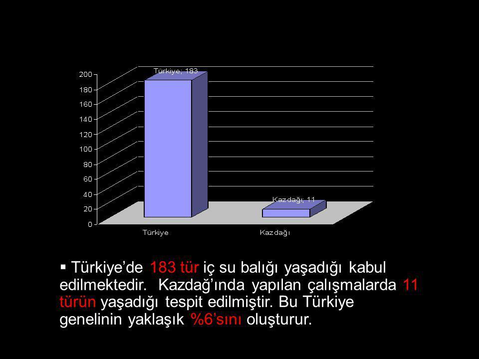  Türkiye'de 183 tür iç su balığı yaşadığı kabul edilmektedir. Kazdağ'ında yapılan çalışmalarda 11 türün yaşadığı tespit edilmiştir. Bu Türkiye geneli