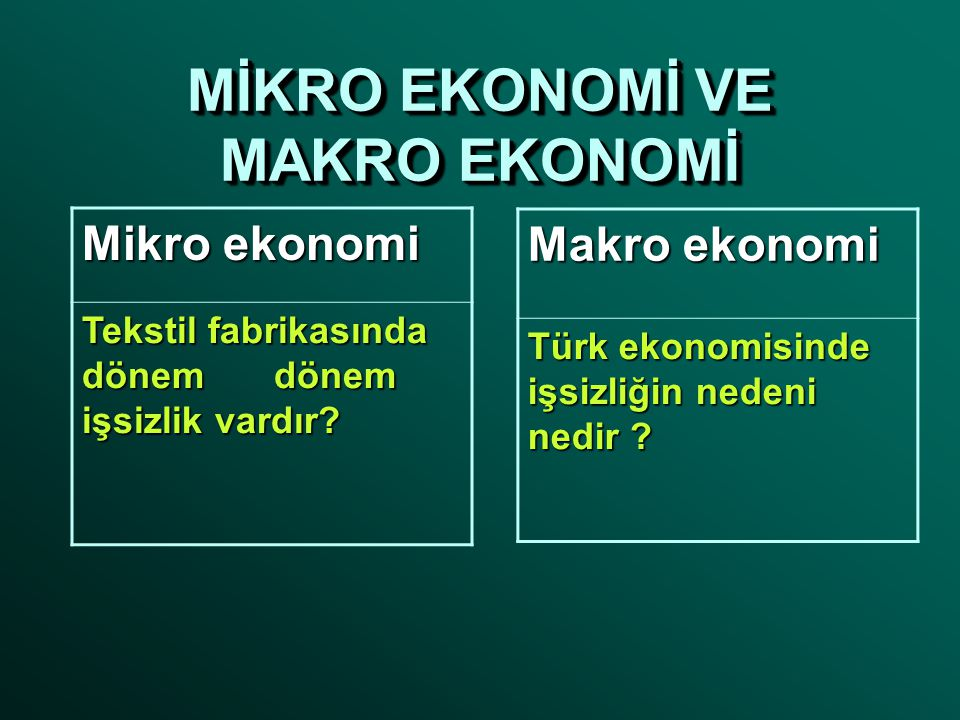 MİKRO EKONOMİ VE MAKRO EKONOMİ Mikro ekonomi Tekstil fabrikasında dönemdönem işsizlik vardır.