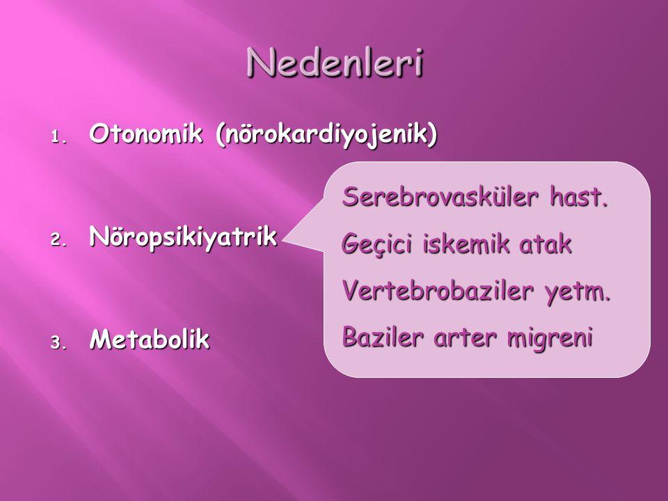 1. Otonomik (nörokardiyojenik) 2. Nöropsikiyatrik 3. Metabolik Serebrovasküler hast. Geçici iskemik atak Vertebrobaziler yetm. Baziler arter migreni
