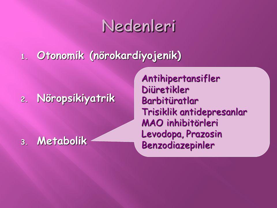 1. Otonomik (nörokardiyojenik) 2. Nöropsikiyatrik 3. Metabolik Antihipertansifler Diüretikler Barbitüratlar Trisiklik antidepresanlar MAO inhibitörler