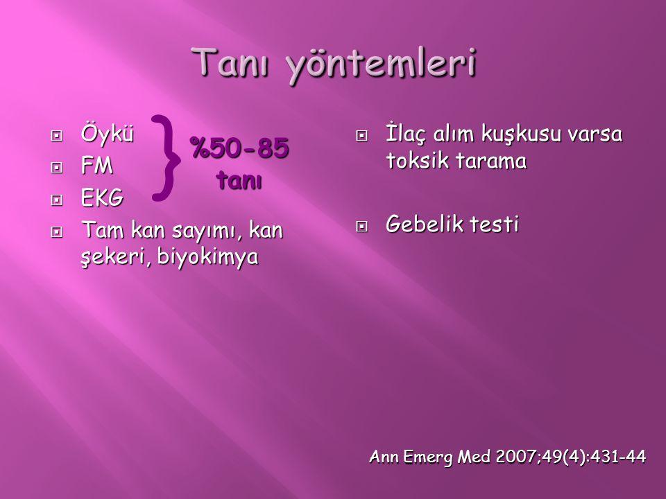  Öykü  FM  EKG  Tam kan sayımı, kan şekeri, biyokimya  İlaç alım kuşkusu varsa toksik tarama  Gebelik testi } %50-85 tanı Ann Emerg Med 2007;49(
