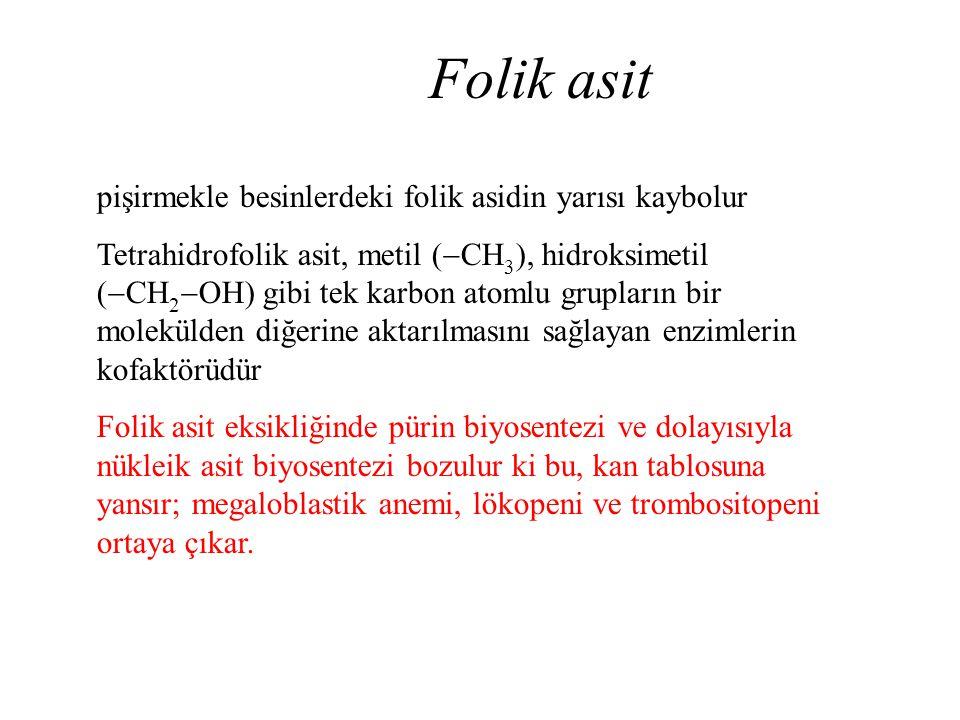 Folik asit pişirmekle besinlerdeki folik asidin yarısı kaybolur Tetrahidrofolik asit, metil (  CH 3 ), hidroksimetil (  CH 2  OH) gibi tek karbon a