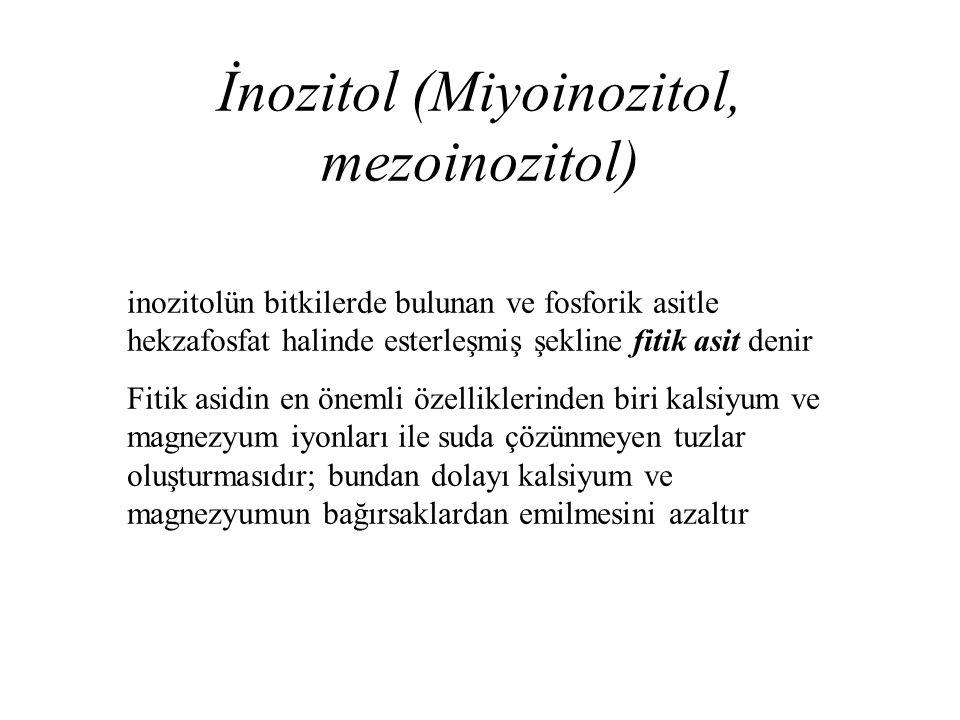 İnozitol (Miyoinozitol, mezoinozitol) inozitolün bitkilerde bulunan ve fosforik asitle hekzafosfat halinde esterleşmiş şekline fitik asit denir Fitik